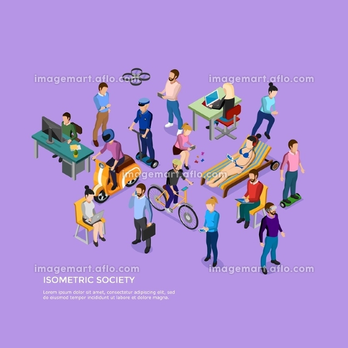 Isometric People Society. Isometric people society with group of male and female using different kinds of transport and electronic devices vector illustration