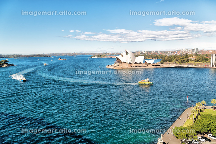 in  australia  sydney opera house the bay  and the skyline of the city