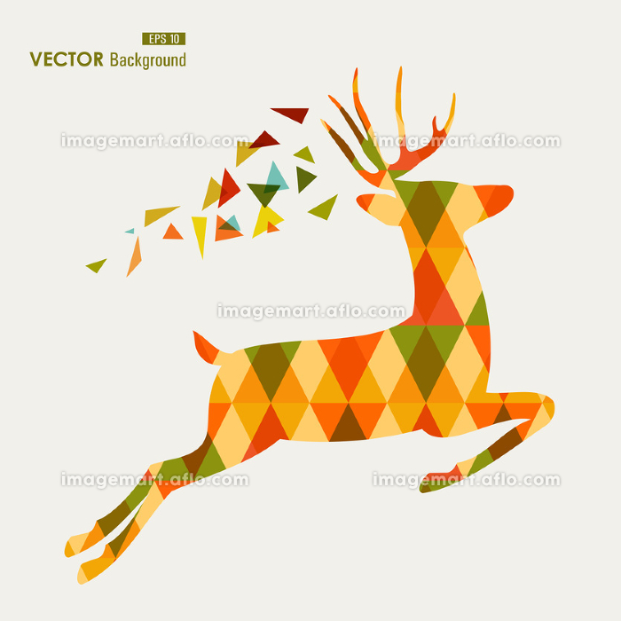 Colorful fall season reindeer triangle composition EPS10 file background.の販売画像