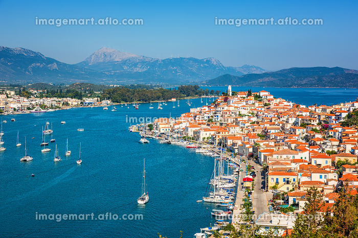 Beautiful bay near Poros island at sunny day, Greeceの販売画像