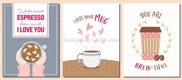 コーヒーテーマのバレンタインカードセットの販売画像