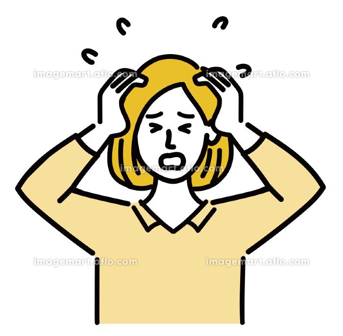 女性 金髪 若い ベクター ポップ 焦っているの販売画像