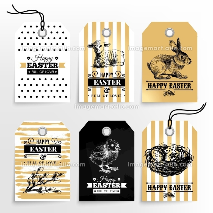 Happy Easter sale tags. Holiday labels set. Hand drawn sketch vintage vector illustrations. Gold design