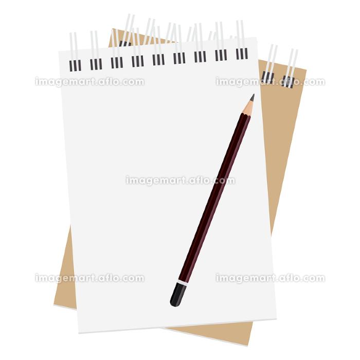 メモ帳のイラスト素材と鉛筆 セット メモ 紙 文房具 事務用品 ベクターの販売画像