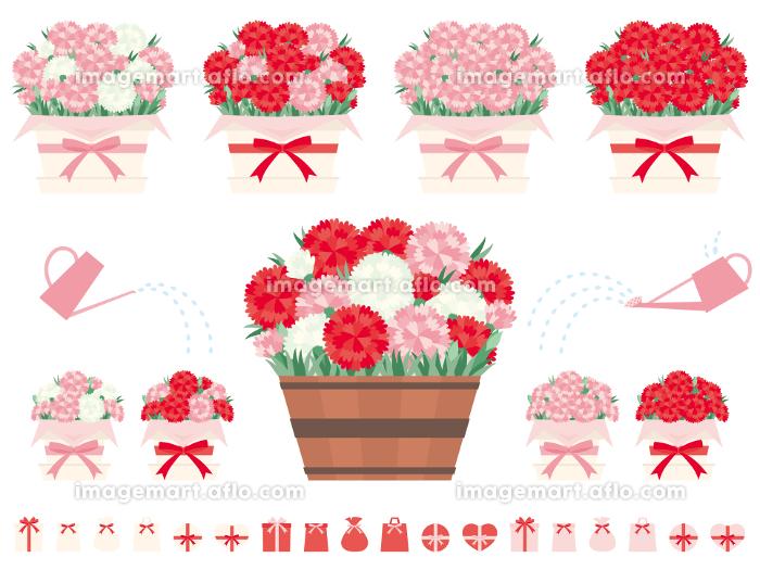 カーネーションとバラを植えた鉢のイラストセット 母の日に贈る花の販売画像