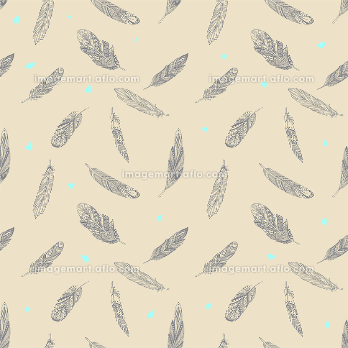 Vector Seamless pattern with ethnic feathers. Tribal Feathers Vintage Pattern. Hand Drawn Doodles.