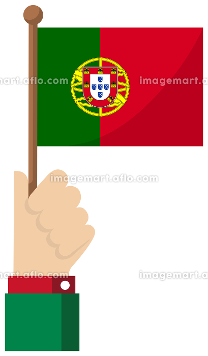 手持ち国旗イラスト ( 愛国心・イベント・お祝い・デモ ) / ポルトガルの販売画像