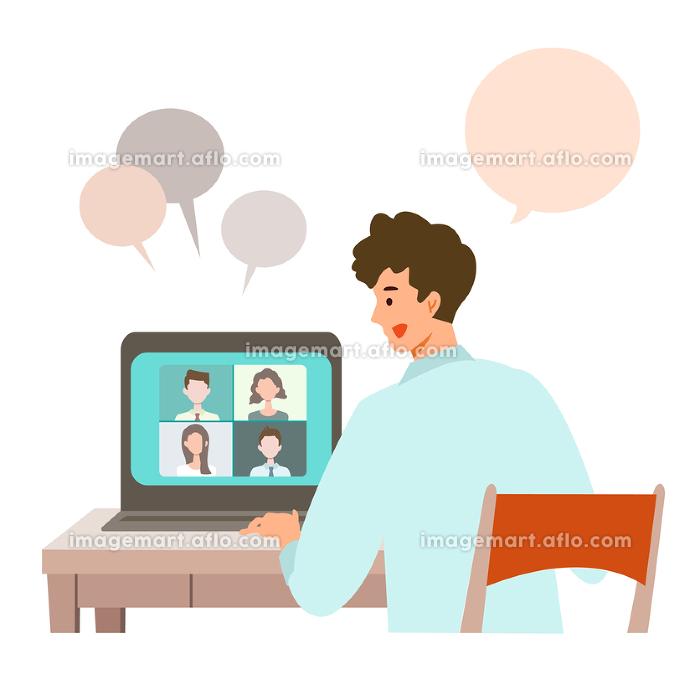 【新しい生活様式】ビデオ会議をする男性の販売画像