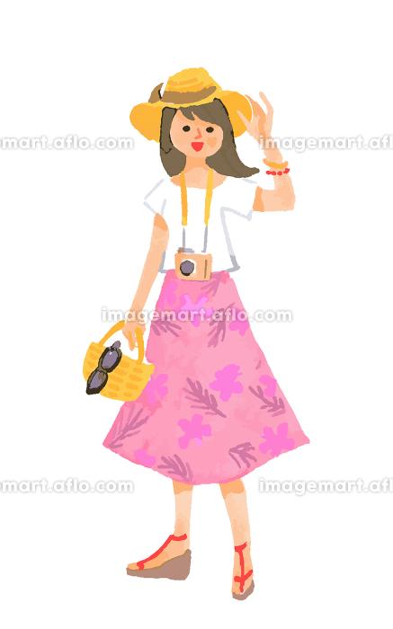 リゾート地 夏服の女性の販売画像