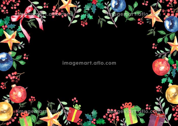 水彩で描いたクリスマスのフレームの販売画像