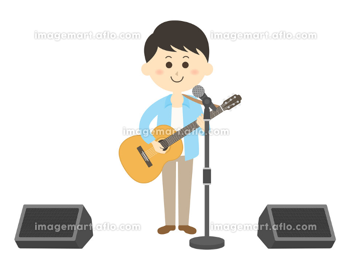 男性ミュージシャンのコンサートのイラストの販売画像