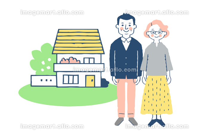 シニア夫婦と家の販売画像