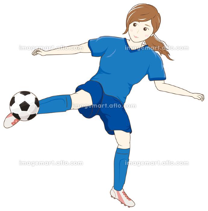 サッカーをする女性04の販売画像