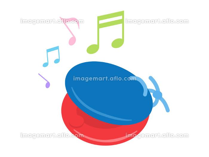 楽器のカスタネットを演奏するイラストの販売画像