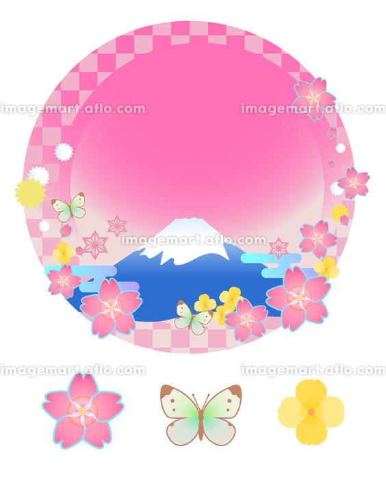 春の富士山・桜・蝶のフレームとアイコンのセットの販売画像