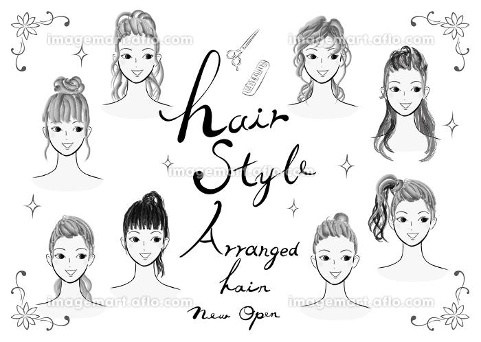 若い女性のヘアスタイルのイラスト集合 おしゃれな髪型のファッション系ベクターイラストのセット 白黒の販売画像