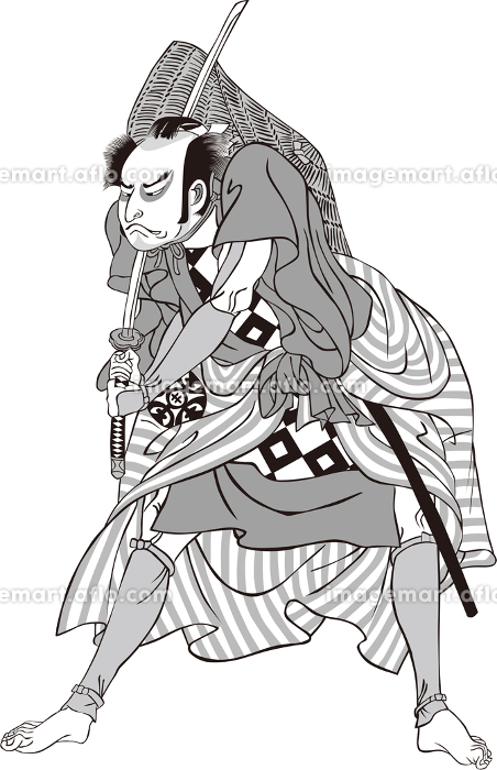 浮世絵 歌舞伎役者 その61 白黒の販売画像