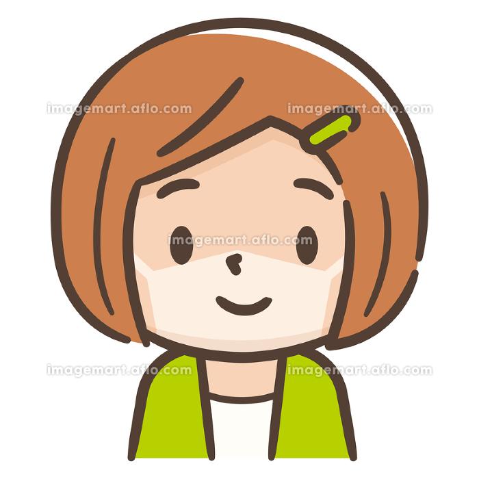 マスク日焼けした女の子のイラストレーションの販売画像