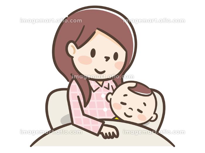 赤ちゃんと添い寝する母親の販売画像