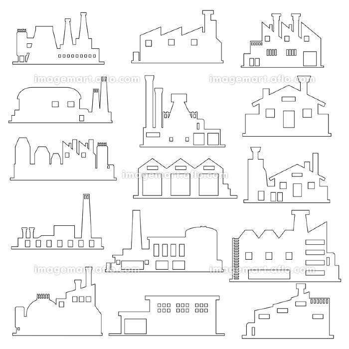 イラスト素材 工場 産業 電力 電気建物 ライン セットの販売画像