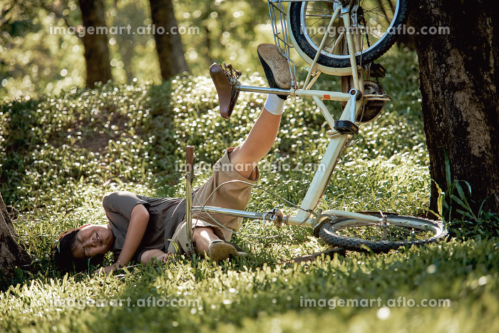 A boy and bicycle crashed on the treeの販売画像