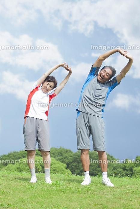 体操をするシニアの販売画像