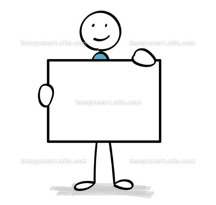 ホワイトボードを持つ人物の販売画像