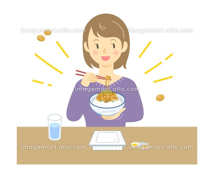 納豆ごはんを食べる女性のイラストの販売画像