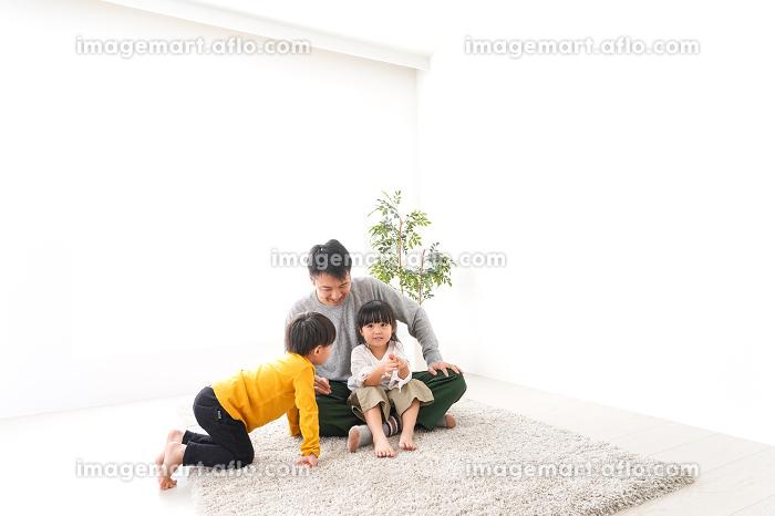 子どもたちと遊ぶパパの販売画像