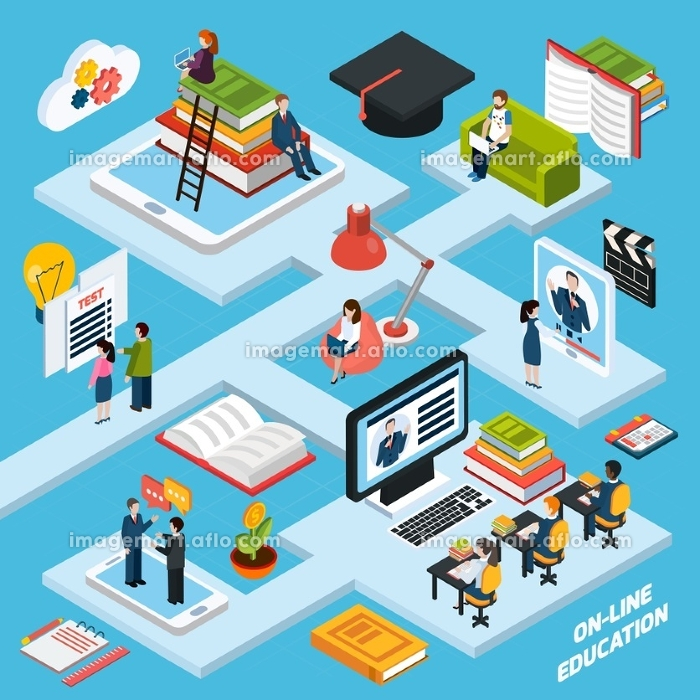 Webinar Isometric Composition . Webinar isometric composition with online education symbols on blue background vector illustration