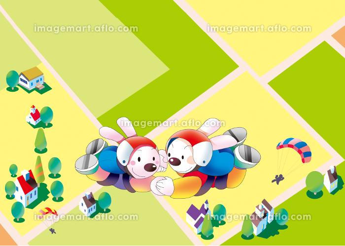 スカイダイビングするウサギの販売画像