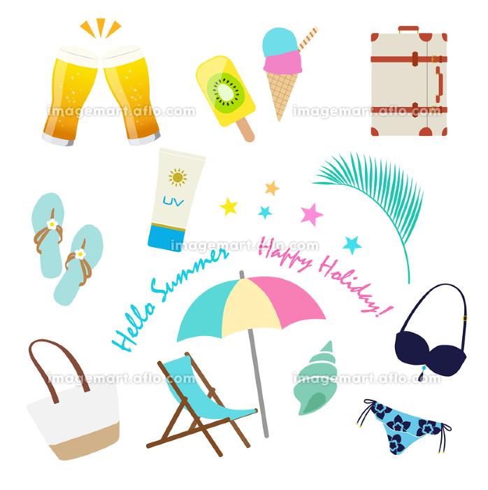 トロピカル イメージ 夏休み アイコンセットの販売画像