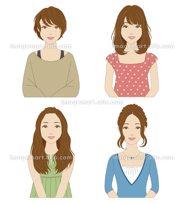 いろいろなヘアスタイルとファッションの女性の販売画像