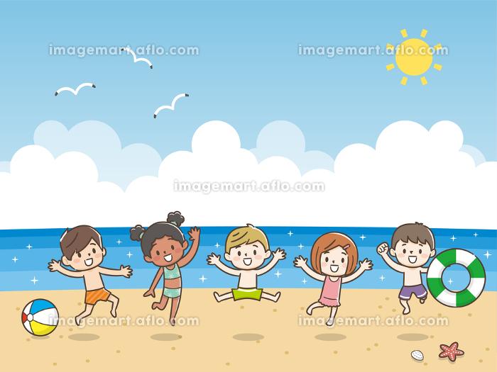 子供 海水浴 ジャンプの販売画像