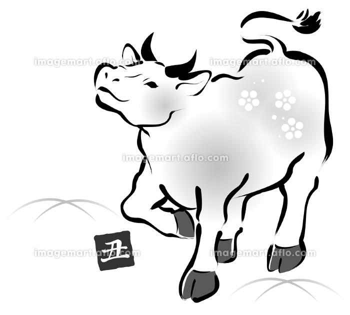 上を見上げて歩く牛の墨絵風イラストの販売画像