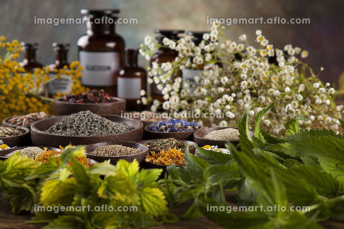 Alternative medicine, dried herbs and mortar on wooden desk background