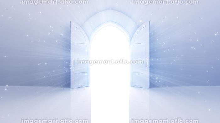 輝かしい未来への扉、天国と成功への道。 3D イラストの販売画像