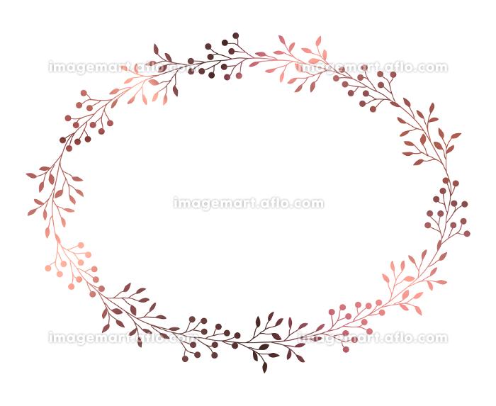 ピンクゴールドの小枝と実のフレームイラスト 3の販売画像
