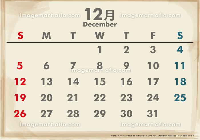 日本令和3年21年カレンダー素材イラストデータ 12月 イメージマート