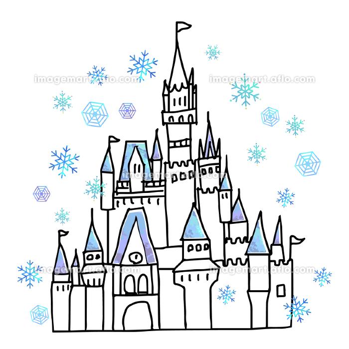 冬のシンデレラの城の手書き線画イラストの販売画像