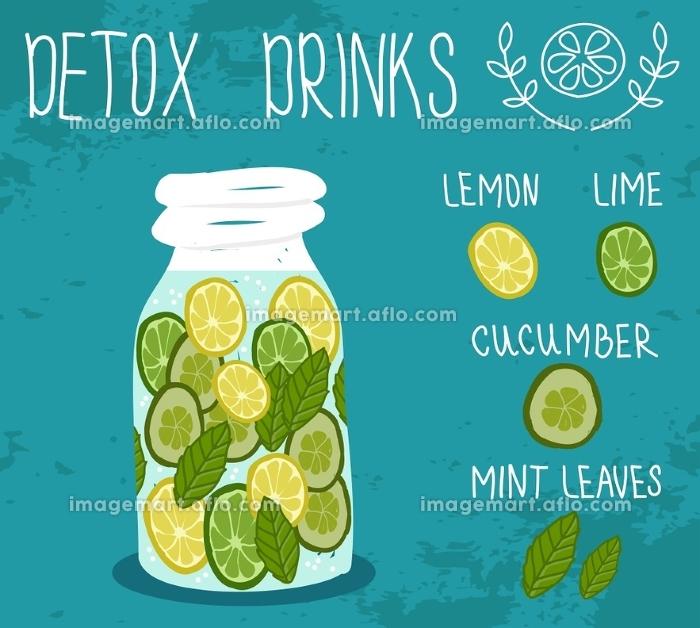Detox drink. Health life. Vector illustration.