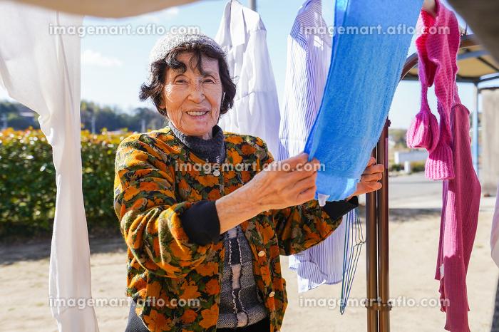 洗濯をする高齢の女性の販売画像