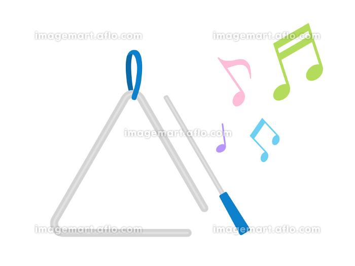 楽器のトライアングルを演奏するイラストの販売画像