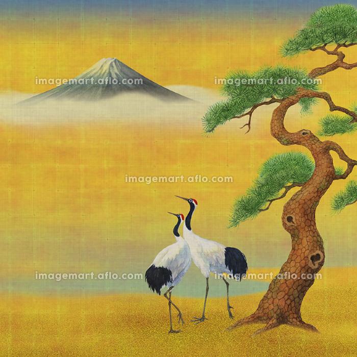富士山と鶴と松