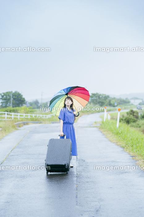 スーツケースとカラフルな傘を持つ女性の販売画像