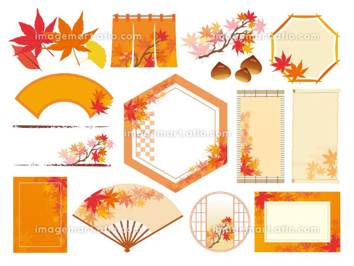 秋 和風 紅葉 背景の販売画像