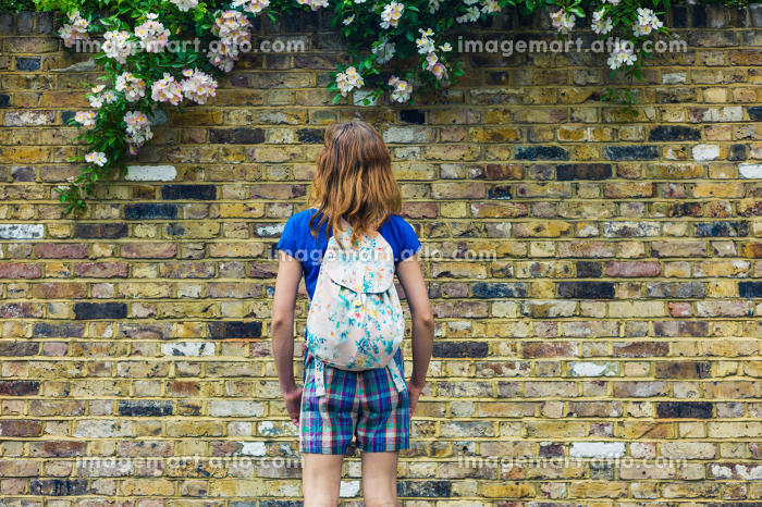 A young woman wearing summer clothes is looking at some flowers growing on a wallの販売画像