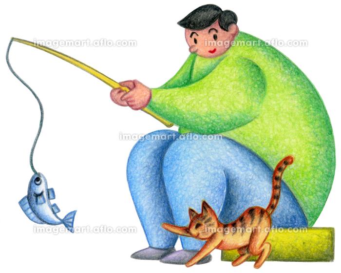釣りをする男性と猫の販売画像