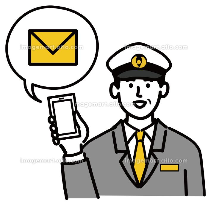 男性 若い バス タクシー 運転手 ベクター ポップ メール スマホ スマートフォンの販売画像