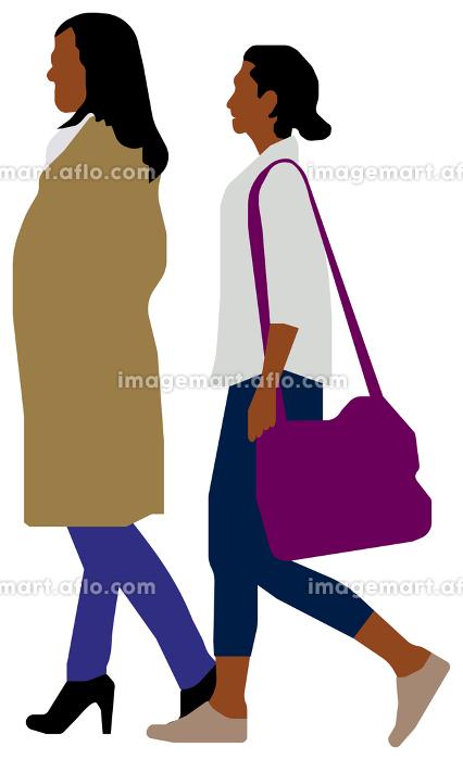 人物全身シルエット 黒人 ベクターイラスト(日常生活・シチュエーション)の販売画像